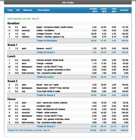 diabetes meal plan template
